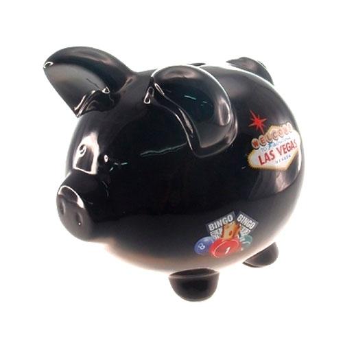 Cofre Decorativo Pig Las Vegas em Cerâmica - 20x18 cm