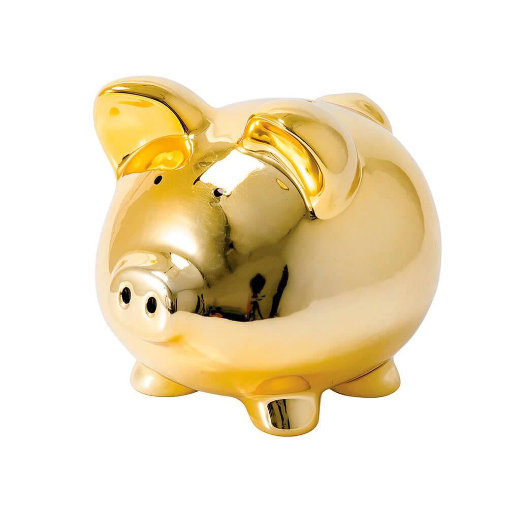 Cofre Decorativo Porco Dourado em Cerâmica - Urban - 21x19,5 cm