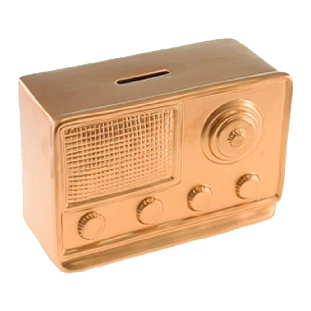 Cofre Decorativo Rádio Retrô Dourado em Cerâmica - 17x11 cm