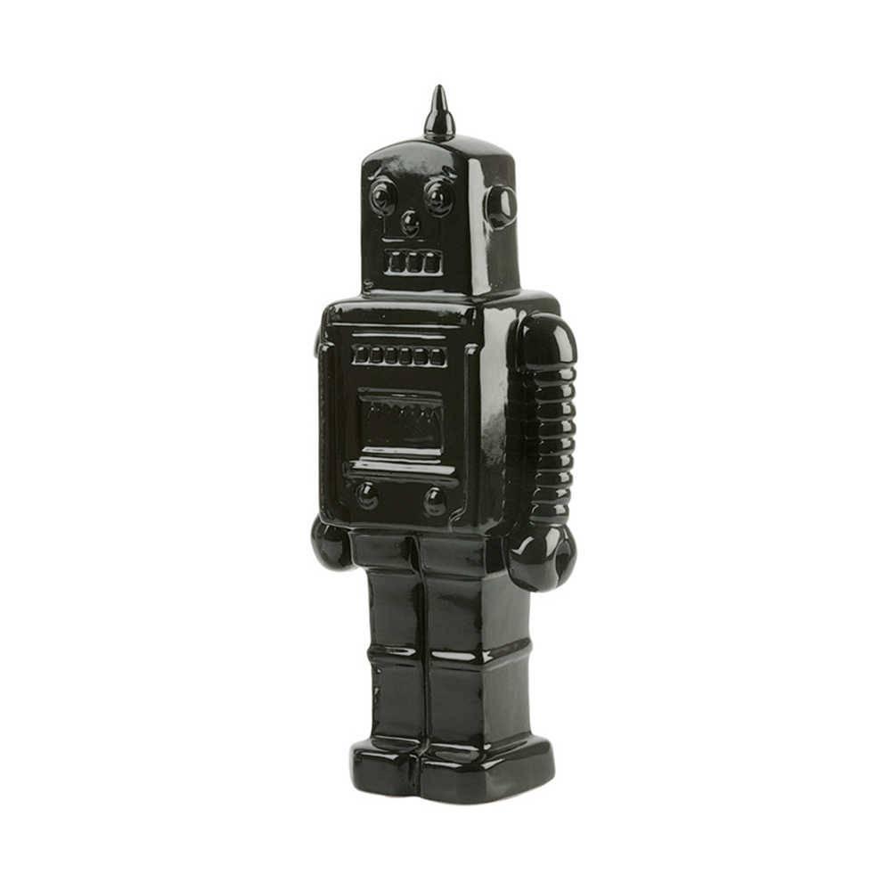 Cofre Decorativo Robot Grande Preto em Cerâmica - Urban - 22x9 cm