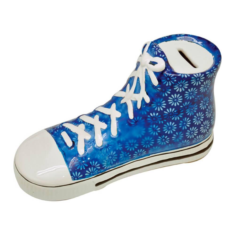 Cofre Decorativo Tennis Shoes Azul com Flores em Cerâmica - Urban - 23x12 cm