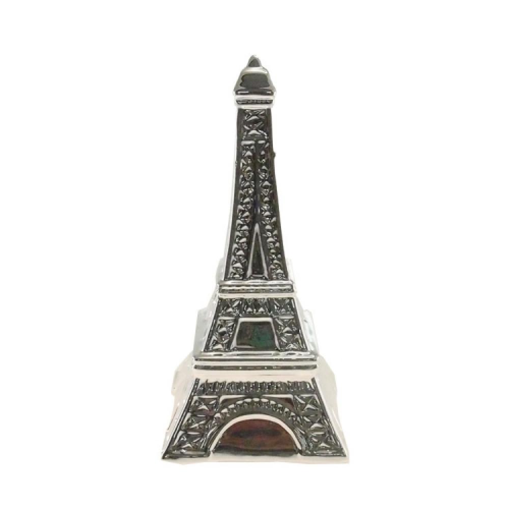 Cofre Decorativo Torre Eiffel Prata em Cerâmica - 20x10 cm