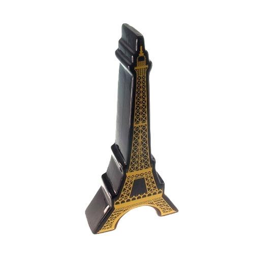 Cofre Decorativo Torre Eiffel Preto/Amarelo em Cerâmica - 31x5 cm