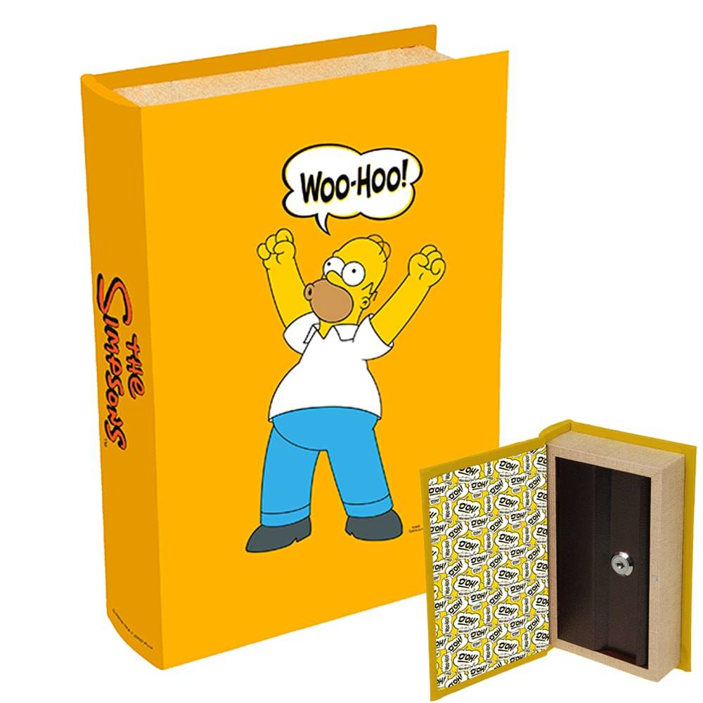 Cofre Formato de Livro Bordões Homer Simpson - The Simpsons - Amarelo em Madeira - 21x13 cm