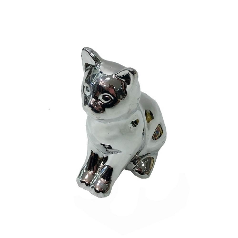 Cofre gato sentado prata