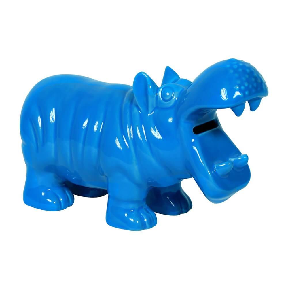 Cofre Hippo Azul em Cerâmica - Urban - 26,5x16 cm