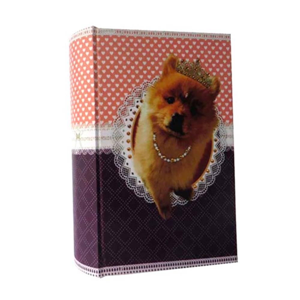 Cofre Livro Pet Pop Cachorra Princesa em Madeira/Tecido - 21x12 cm