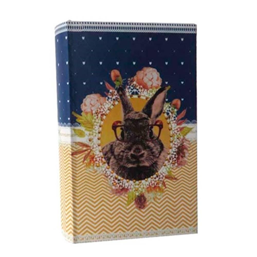 Cofre Livro Pet Pop Coelho em Madeira/Tecido - 21x12 cm