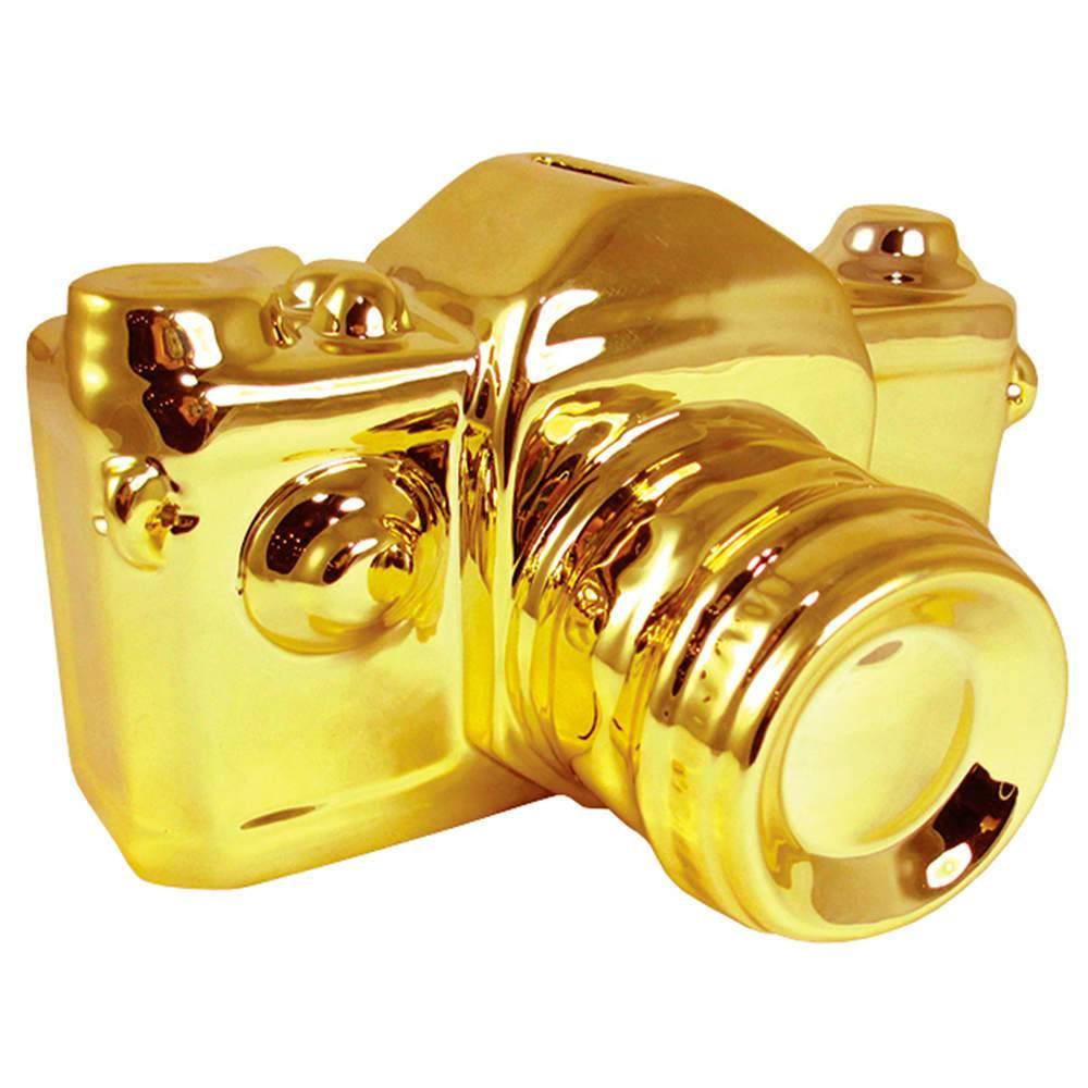 Cofre Máquina Fotográfica Pequena Dourada em Cerâmica - Urban - 16,5x12,5 cm