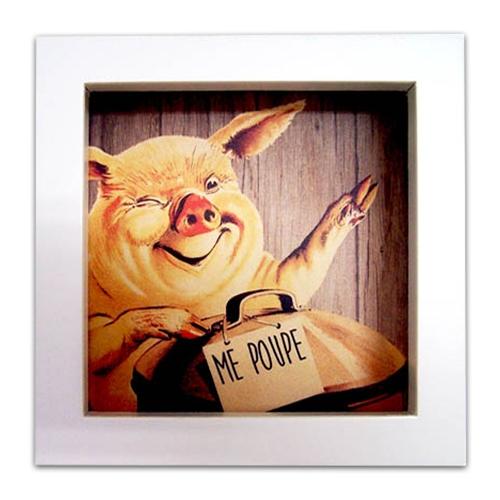 Cofre Me Poupe Porquinho c/ Frente de Vidro em MDF - 15x15 cm