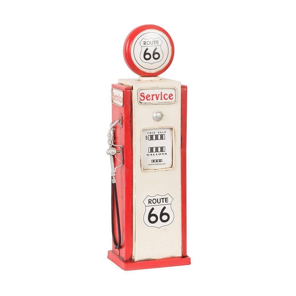 Cofre Miniatura Bomba de Combustível Route 66 Vermelho e Branco em Ferro - 35x10 cm