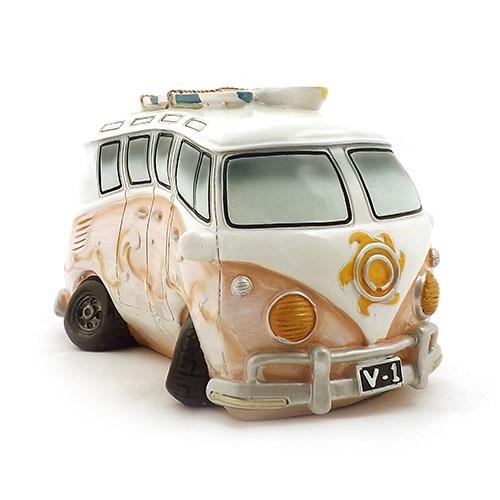 Cofre / Miniatura Kombi - Tema Beach Surf - Feito de Resina - 15x11 cm