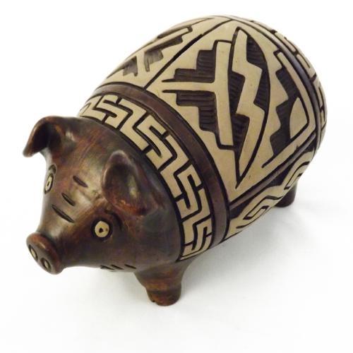 Cofre / Miniatura Porco - Grande - Feito de Argila - 18x27 cm