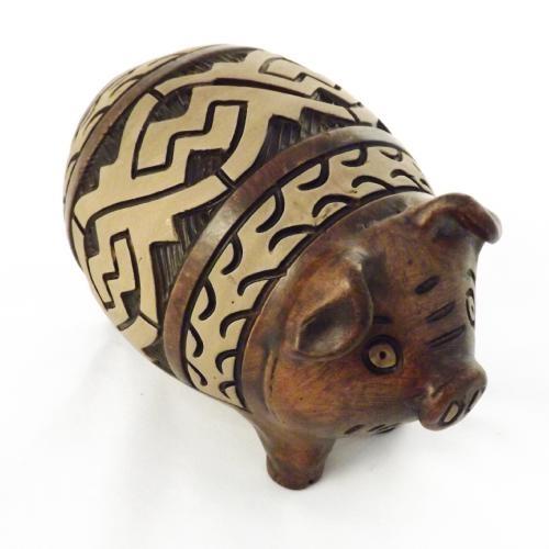Cofre / Miniatura Porco - Médio - Feito de Argila - 16x22 cm