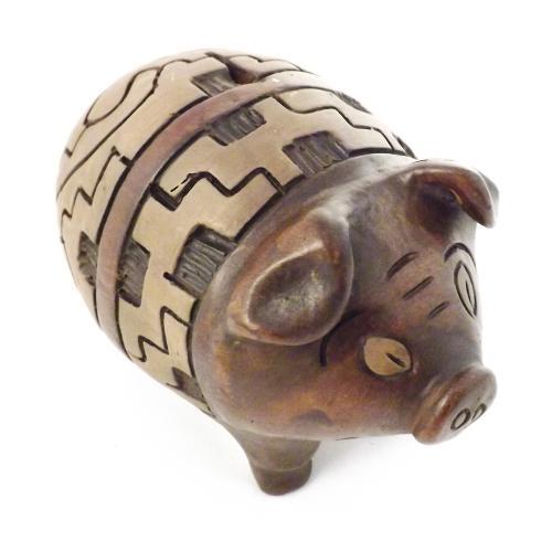 Cofre / Miniatura Porco - Pequeno - Feito de Argila - 14x18,5 cm