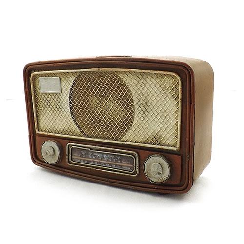 Cofre / Miniatura de Rádio Antigo - Em Metal - 23x15 cm