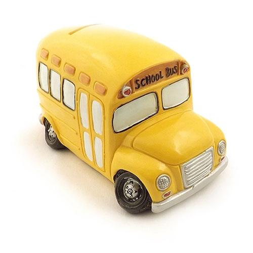 Cofre / Miniatura School Bus - Amarelo - Feito de Resina - 16x10 cm