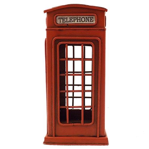 Cofre / Miniatura de Telefone Inglês - Feito de Metal - 9x20 cm