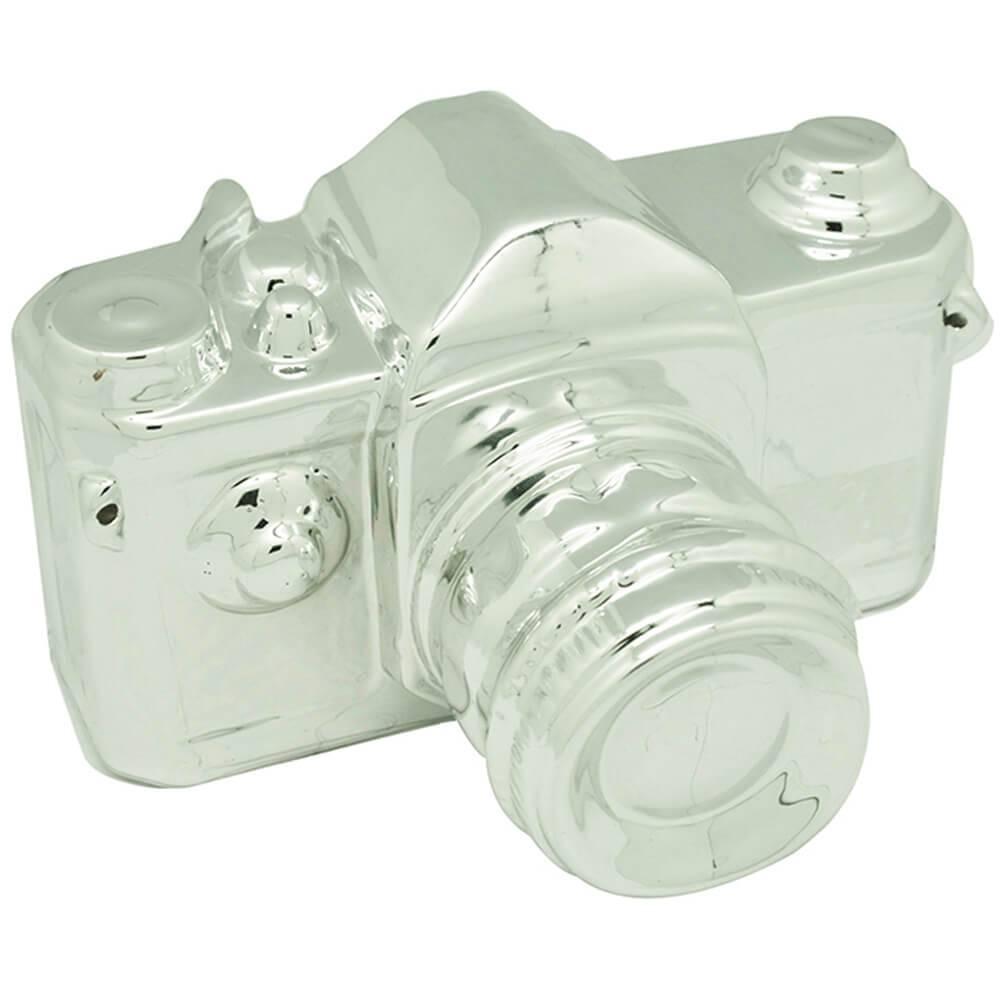 Cofre Photo Camera Grande Prata em Cerâmica - Urban - 21x16 cm