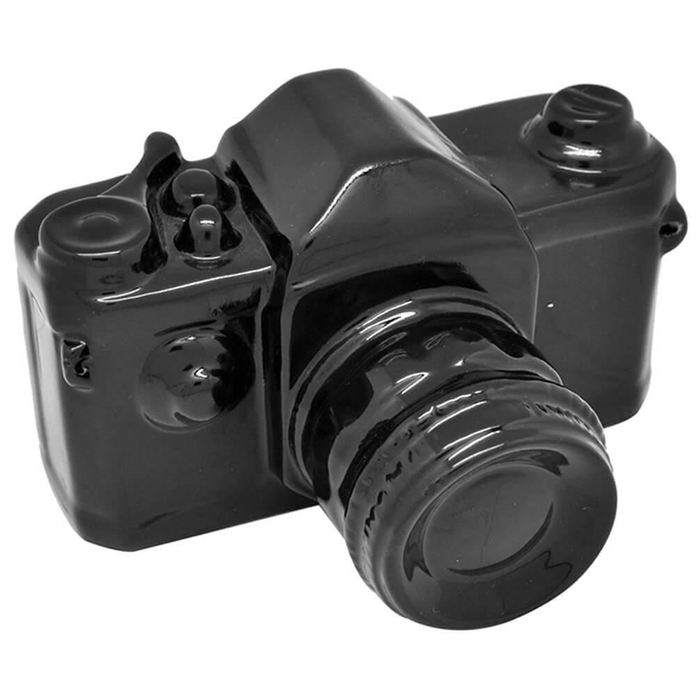 Cofre Photo Camera Grande Preto em Cerâmica - Urban - 21x16 cm