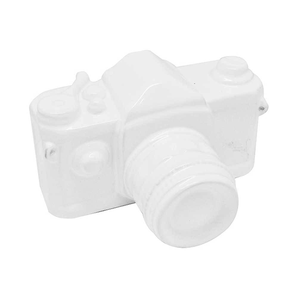 Cofre Photo Camera Pequena Branco em Cerâmica - Urban - 16,5x12,5 cm
