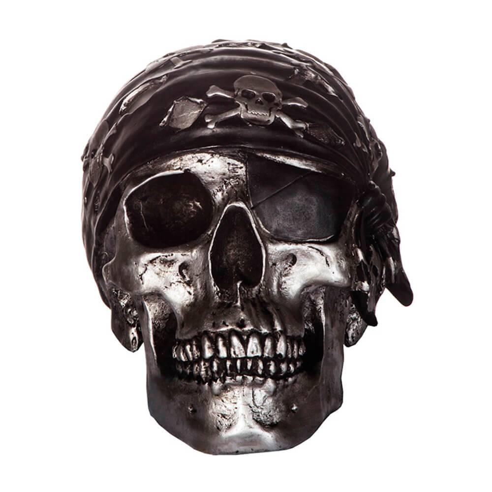 Cofre Pirate Skull Prata em Resina - Urban - 21,5x15 cm