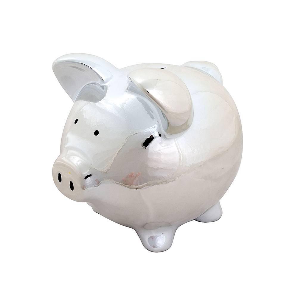 Cofre Porco Cromado em Cerâmica - Urban - 21x19,5 cm
