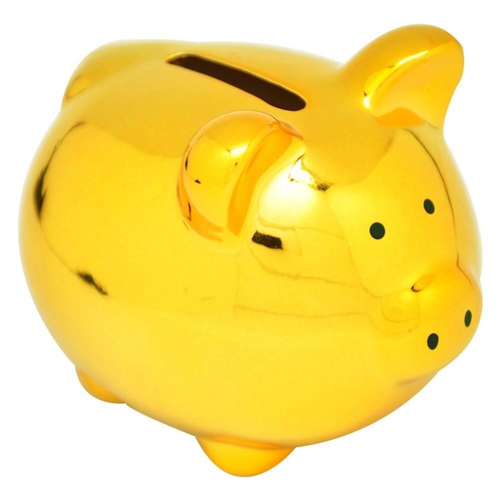 Cofre Porco Mini Dourado em Cerâmica - Urban - 10x9 cm