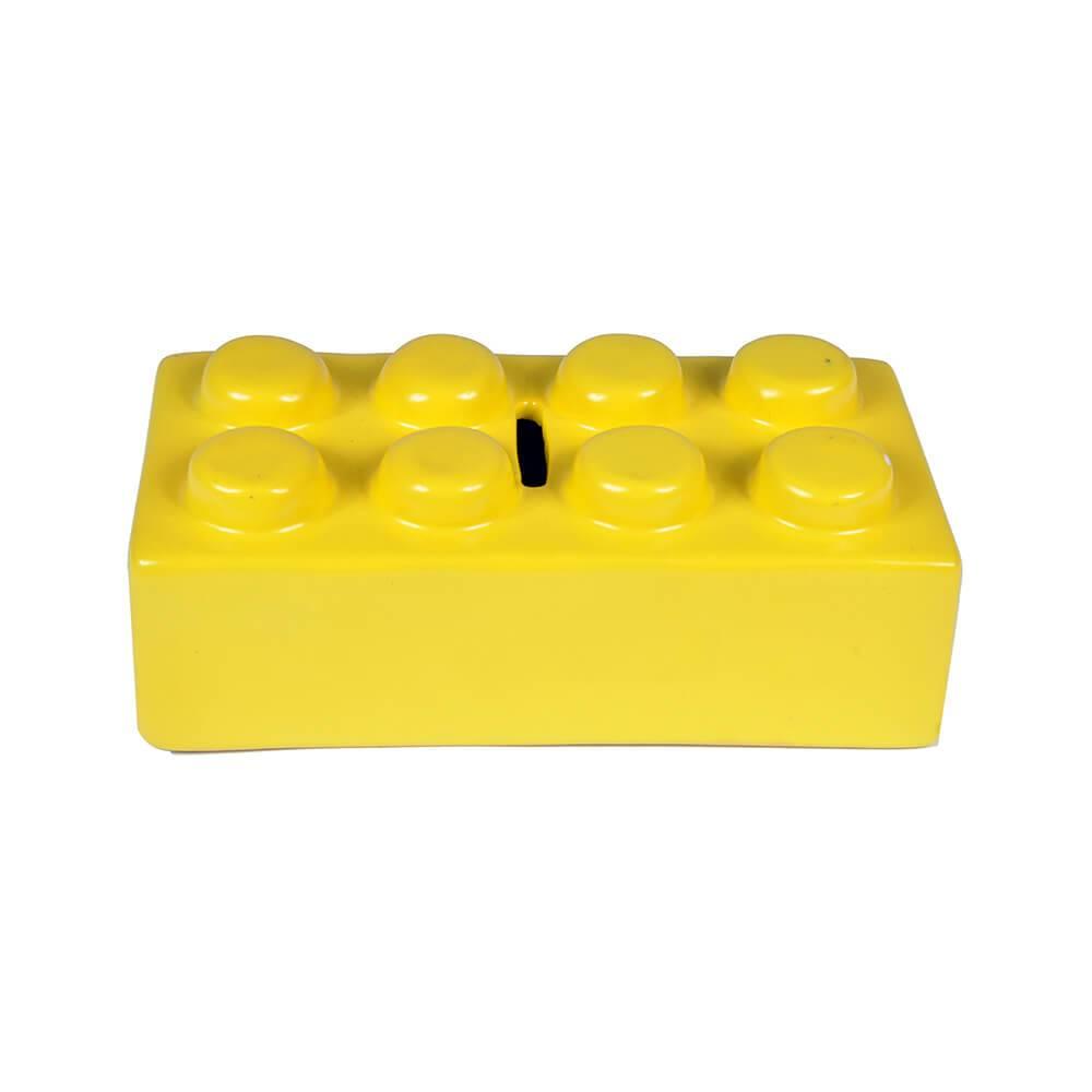 Cofre Puzzle Amarelo em Cerâmica - Urban - 16x8 cm