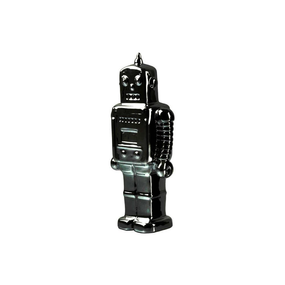 Cofre Robot Pequeno Cromado em Cerâmica - Urban - 22x9 cm