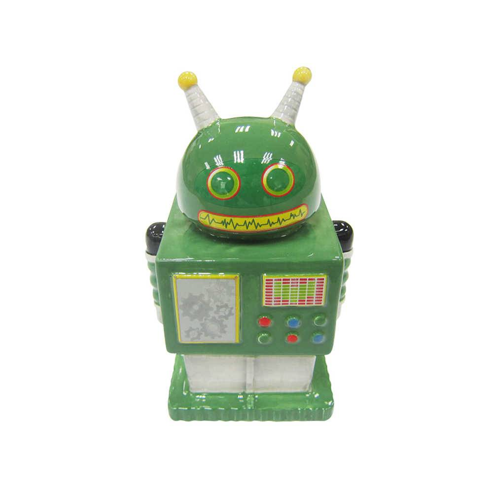 Cofre Robot Two Antenna In The Head Verde em Cerâmica - Urban - 14,8x9 cm