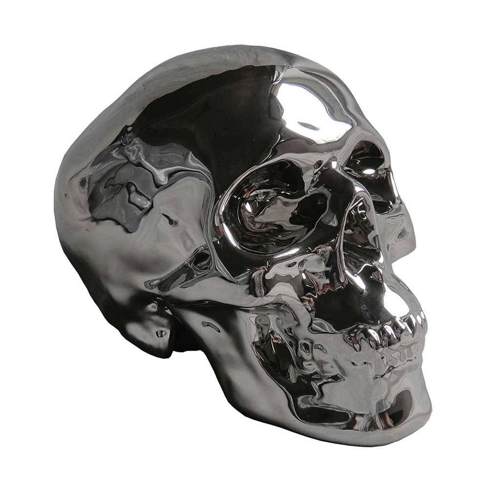 Cofre Skull Prateado em Cerâmica - Urban - 19x14 cm