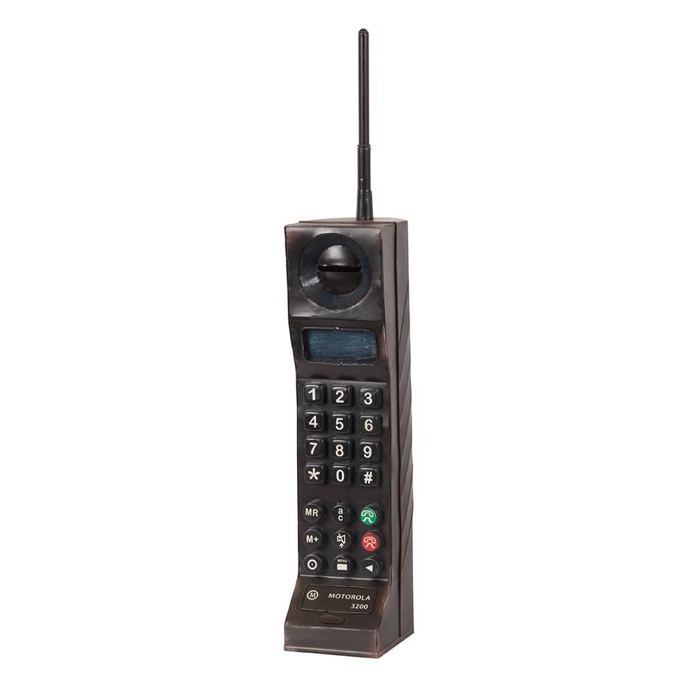 Cofre Telefone Réplica Modelo Black Motorola 3200 em Ferro - 44x9 cm