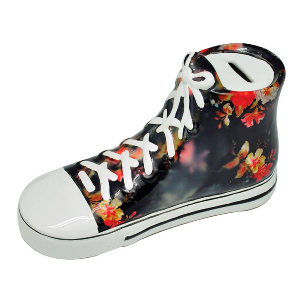 Cofre Tennis Shoes Preto com Flores em Cerâmica - Urban - 23x12 cm