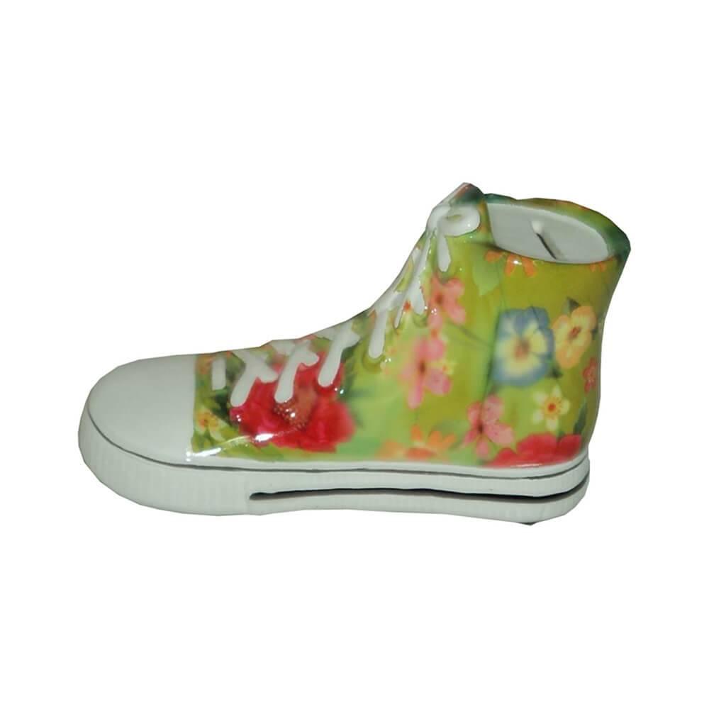 Cofre Tennis Shoes Verde com Flores em Cerâmica - Urban - 23x12 cm