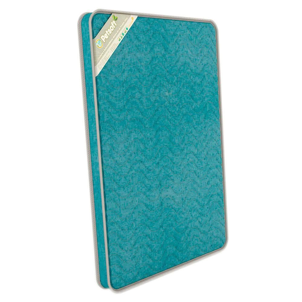 Colchão para Pet PetSoft Azul em Espuma e Tecido Ecológico - Médio - 70x50 cm