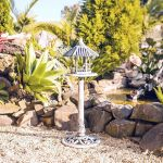 Comedouro Cinza com Telhado Pássaros Greenway - 95x33 cm