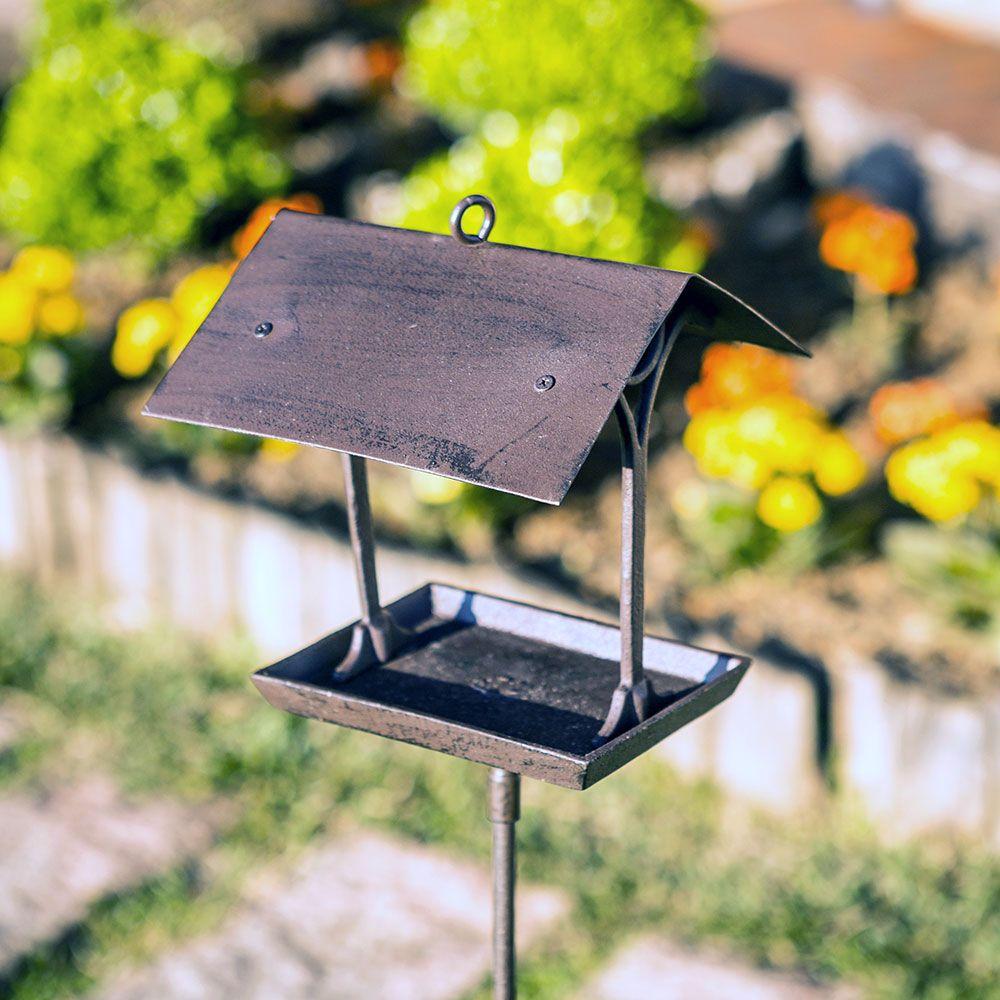 Comedouro com Telhado para Pássaros Greenway em Metal - 25x20 cm
