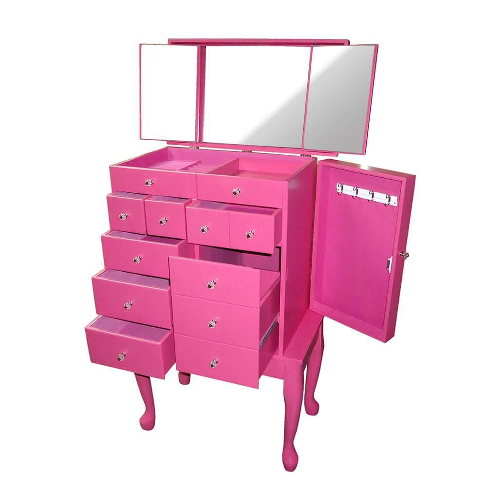 Cômoda Porta-Joias Eternal 10 Gavetas em Madeira Pink com Espelho - Urban - 66x59 cm