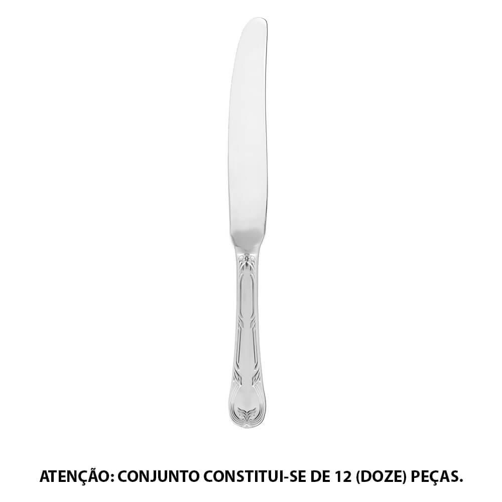 Conjunto 12 Facas de Mesa Regence em Aço Inox - Fracalanza - 21,7 cm