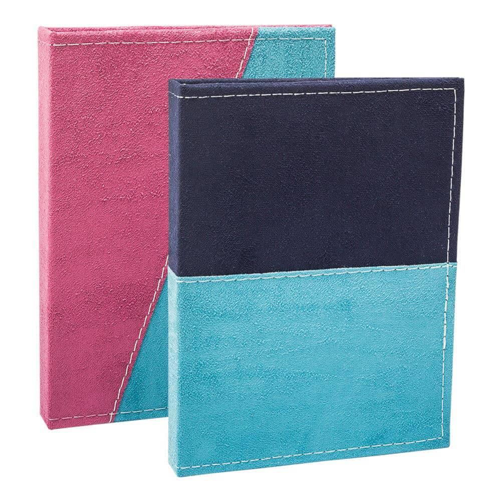 Conjunto 2 Álbuns de Fotos Color Block Azul - 80 Fotos 15x21 cm cada - Capa em Camurça - 22,7x17,3 cm