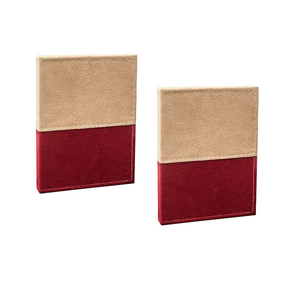 Conjunto 2 Álbuns de Fotos Color Block Bege e Bordô - 80 Fotos 15x21 cm cada - Capa em Camurça - 22,7x17,3 cm