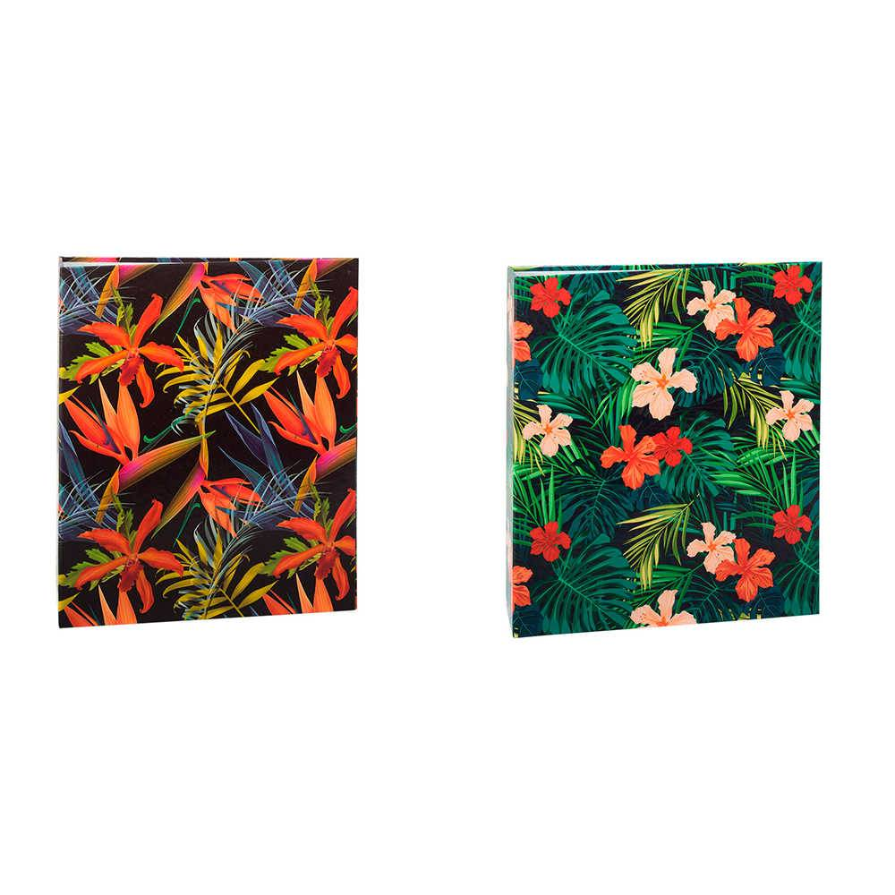 Conjunto 2 Álbuns de Fotos Flores Tropicais - com 240 Fotos 10x15 cm cada - 24,2x18,1 cm