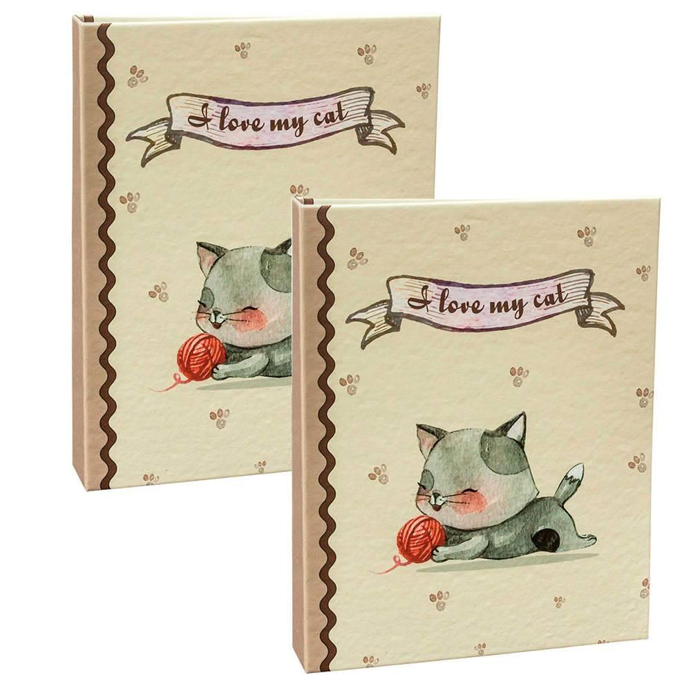 Conjunto 2 Álbuns Pet Lovers I Love My Cat - 160 Fotos 10x15 cm cada - Encadernado com Solda - 23x18,4 cm