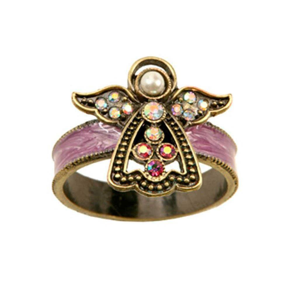 Conjunto 2 Anéis Porta-Guardanapos Angel em Metal com Pedrarias - 11 cm
