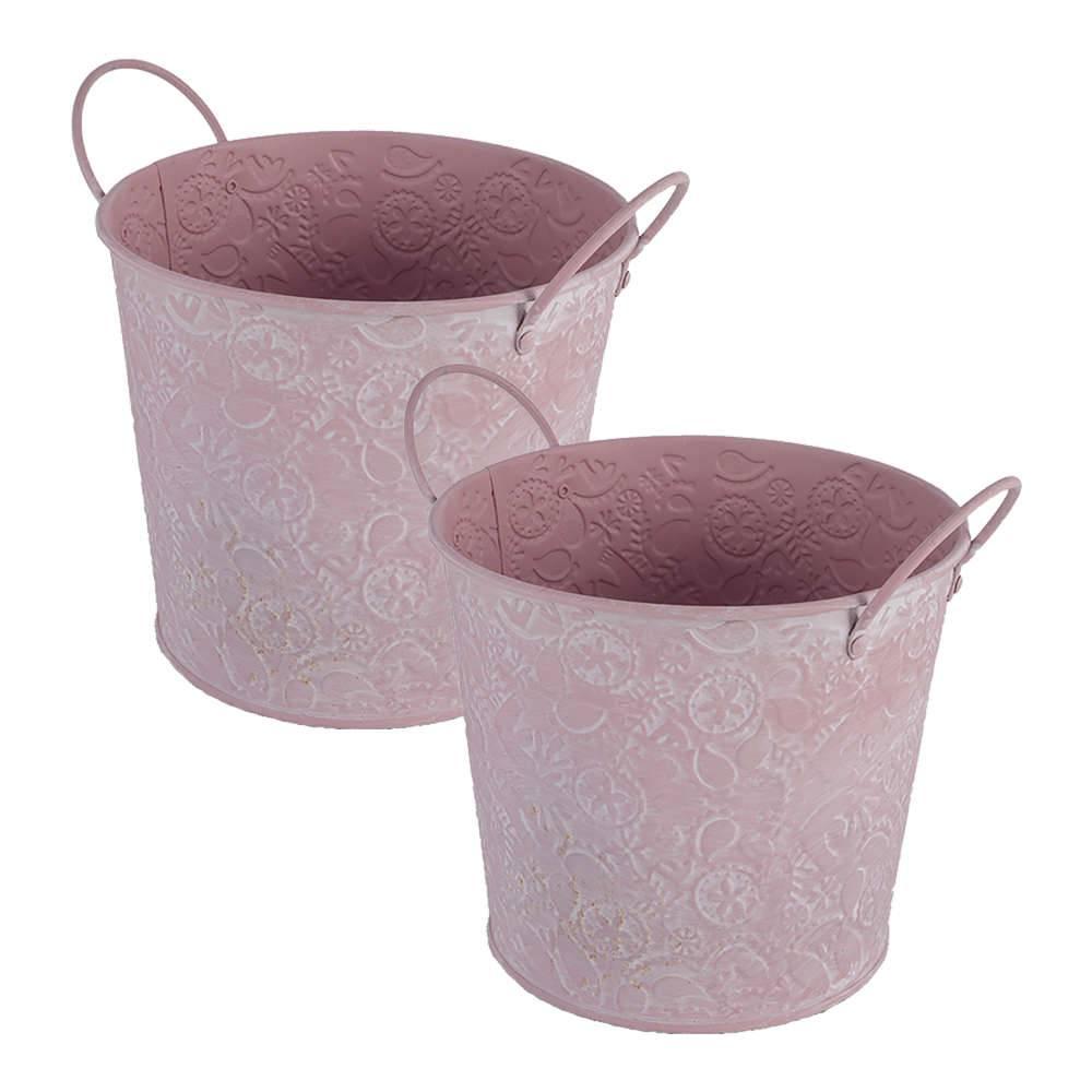 Conjunto 2 Baldes Decorativos Rosa Médio com Alças em Metal - 16x14 cm