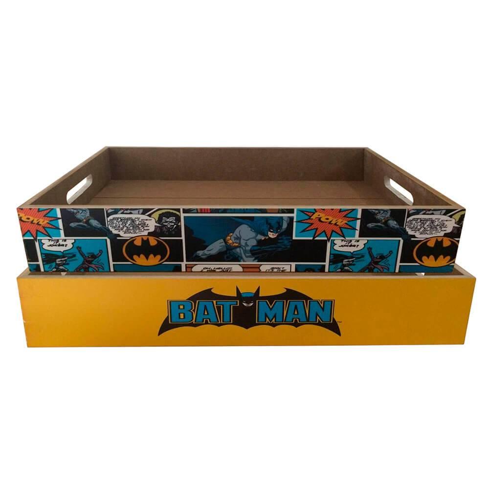 Conjunto 2 Bandejas DC Comics Batman em Madeira - Urban - 48x30 cm