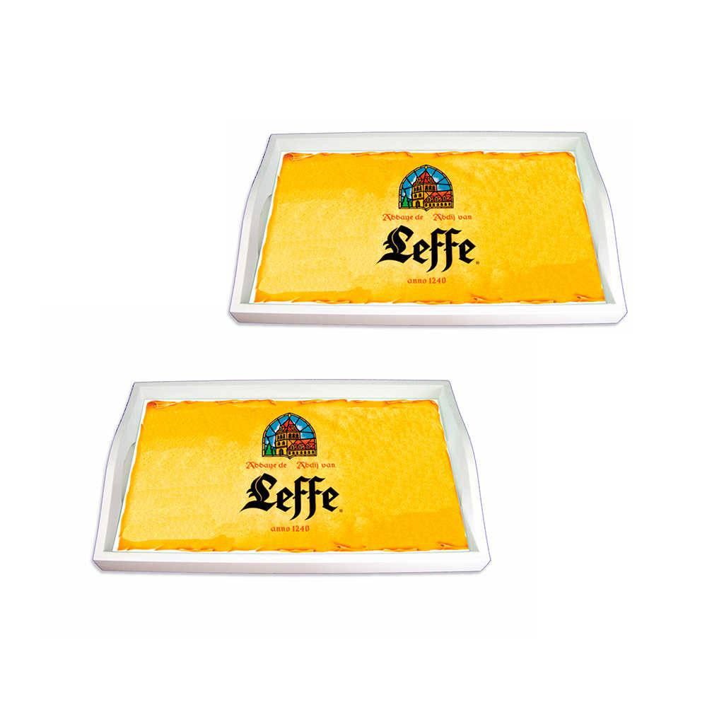 Conjunto 2 Bandejas Logo Leffe Amarelo em MDF - 38x24 cm