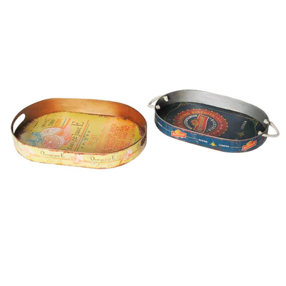 Conjunto 2 Bandejas Redondas Mexican Style em Ferro - Urban - 51x36 cm