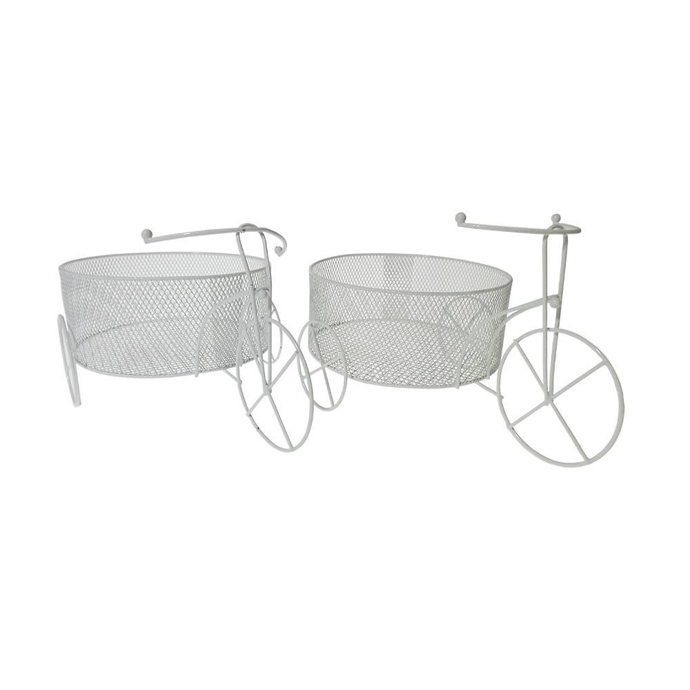 Conjunto 2 Bicicletas de Bebê Decorativa Branco em Metal - 26x17,5 cm